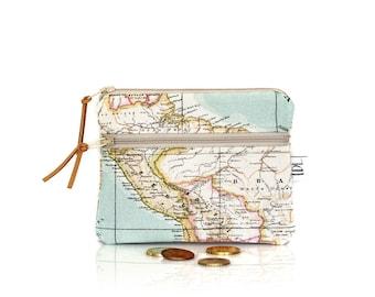 Map mini wallet, Zipper coin purse, Small change pouch, Little pouch, Card holder, Teacher gift, Earbud case, Business card, World canvas