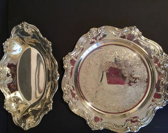 Gorham Chantilly Silverplate YC1344 Casual Tray and YC1311 Bread Tray