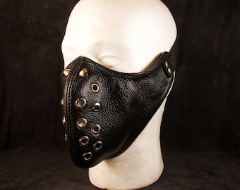 FREE SHIPPING! Natural black leather mask with spikes, spiked mask