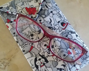 EYE GLASS CASES-Bunch-O-Dogs (Phone & glasses not included)