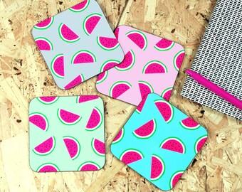 Watermelon coaster - watermelon design - tropical print - watermelon print - drinks coaster