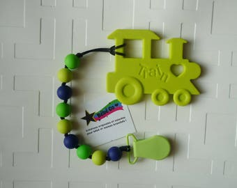 PROMO-Lime green train teething toy for baby, food grade silicone teething toy, lime green, navy and green silicone beads