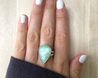 Sterling Silver Moonstone Ring. Size 8.5