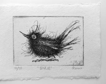 Bird 02 - original handpulled etching - black & white - home decoration - illustration