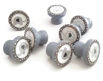SUMMER SALE Taylor Gray Elephant Drawer Knobs