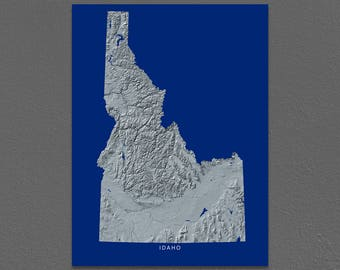 Idaho Map, Idaho Wall Art, ID State Art Print, Landscape, Navy Blue