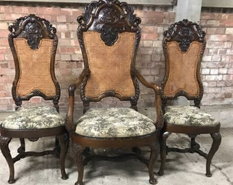 Fabulous Walnut 19th Century Bergere Back Throne Chair With Two Side Chairs