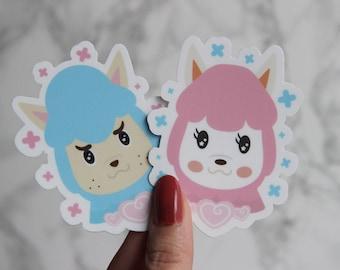 "Animal Crossing Cyrus + Reese Sticker Set - Alpacas 3"" - AC Pocket Camp  - Matte Die Cut Sticker- FairyFlux"