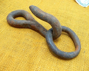 Vintage large hook-old hand forged hook-primitive hook -old farm hook-old barn hook-large hook steel ring -rustic hook - vintage iron hook