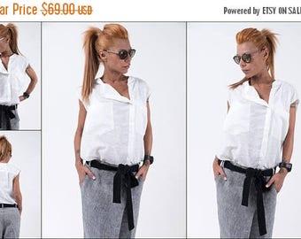 ON SALE Woman linen shirt / Loose white top / Linen sleeveless blouse