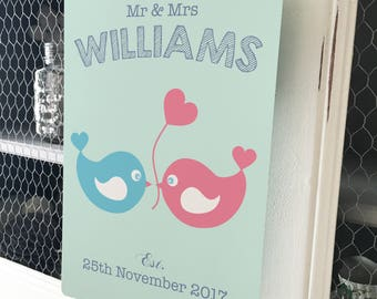 Personalised Wedding Sign, Love Birds Metal Plaque - Vintage style - Anniversary Gift - Bride and Groom - A4 plaque - 200mm x 300mm