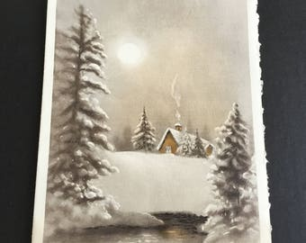 Vintage Christmas greeting card, cabin in the woods, moon