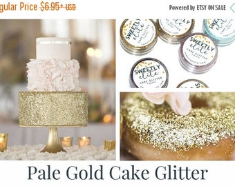 SUMMER SALE Wedding Cake Glitter, Edible Gold Dust, Gold Edible Glitter, Metallic Cake, Sparkly Cake for Gold Wedding, Gift For Her, Pale Go