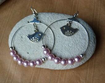 """""""Birdy"""" hoop earrings pink pearls and silver"""
