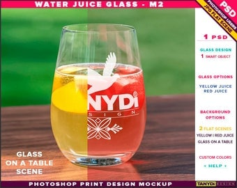 Glass Water Juice M-2 | Yellow & Red Juice | Photoshop Print Mockup | Tumbler on a Outdoor Wooden Table | Smart object Custom colors