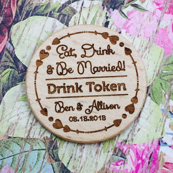 """Personalized Wooden Nickel Drink Tokens 1.5"""" Reception or Party Semi Open Bar Drink Tokens Qty: 12 Tokens"""