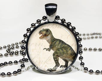 Dinosaur-Glass Pendant Necklace/Gift for him/boy gift/kid necklace/t-rex