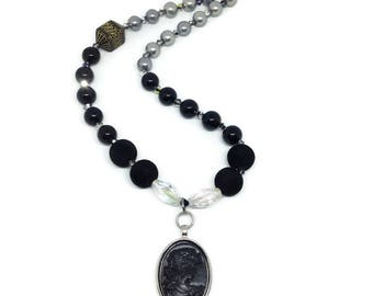 Black Gothic Cameo Beaded Necklace