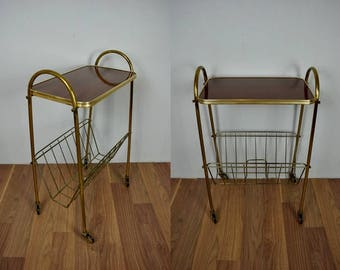 Vintage bar cart, tea cart, serving cart, magazine cart, magazine rack | West Germany | 60s