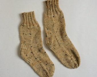 Knitted wool socks, unisex sizes 8-10 socks