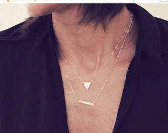 SUMMER17 Layered Triangle Necklace/ Gold Layered Necklace Set / Silver Layered Necklace Set / Personalized Small Triangle Necklace and Skinn