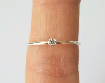 Sterling Silver Cubic Zirconia Ring, Size 5, 6, 7, 1mm, Engagment Ring, Promise Ring, Birthday Gift, Fast Shipping from USA