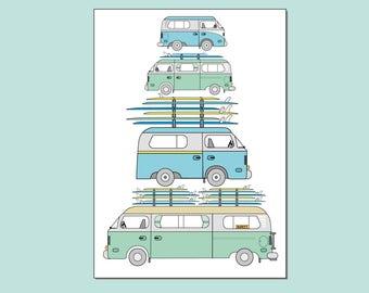 "VW Camper Van Surfboards Illustration Printable PDF Wall Art. 7 x 5"" by Katie Cheetham"