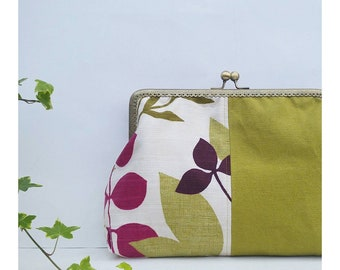 Hand-held bag with snap closure-maxi Clutch vintage-contemporary casual handbag-handamade bag with leaves-Marlene green