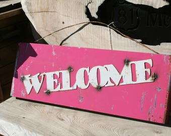 Vintage Style Metal WELCOME sign, outdoor welcome sign, hanging welcome sign, welcome to our home, rustic welcome sign, vintage welcome sign