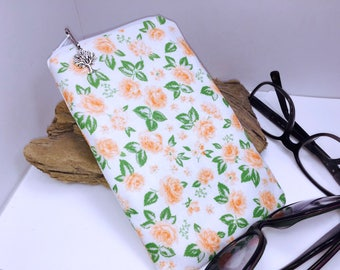 Peach Rosebud Double Eyeglass Case, Zipper Glasses Case, Zip Top Double Glasses Pouch Sunglasses Pouch