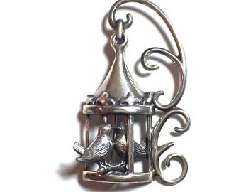 Lang Sterling Lovebird Brooch, Figural Hanging Birdcage, Whimsical, Vintage 1940s 1950s, Gifts For Her, Love Token, Signed Vintage Jewelry