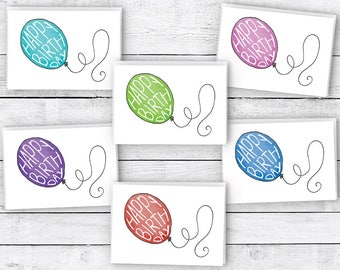 Colorful Birthday Balloons Happy Birthday Cards - 24 Cards & Envelopes