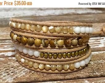 SALE Chan Luu Style Wrap Bracelet / Healing Crystal Bracelet / Jasper Bracelet / Beaded Wrap Bracelet