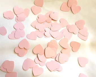 pink confetti hearts hand punched small paper hearts