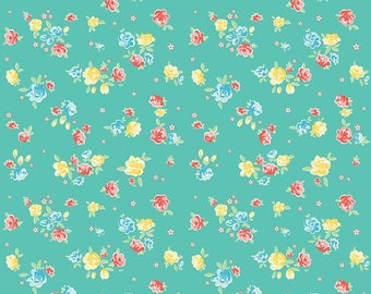 1/2 Yard Bunnies and Blossoms by Lauren Nash for Penny Rose Fabrics-6992 Teal Bunnies Blossoms