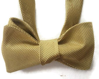 Silk Bow Tie  for Men - Spun Gold - One-of-a-Kind, Handcrafted - Self-tie - Free Shipping