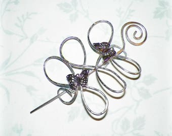 Butterfly Hair Slide Shawl Pin Silver Celtic Brooch Hammered  Style Scarf Pin Hair Barrette  Stick Pin Outlander