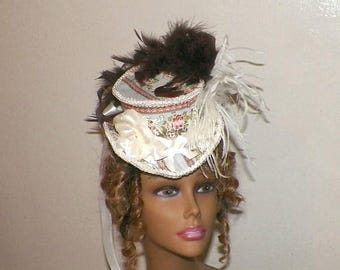 On Sale- Top Hat Steampunk Lolita Mini Blue Brown Cream Ivory Color Headdress Gothic Victorian Hat Fascinator Costume Headpiece  Marie  Anto