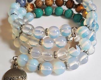 Moonstone/Jasper/Turquoise/Sodalite Wire Wrap Bracelet