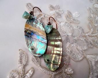 Earrings mother of pearls vintage paua discs copper turquoise vintage turquoise shells copper earhooks