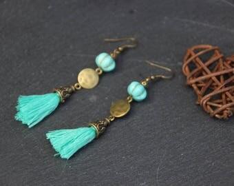 Earrings tassels, ethnic, Bohemian, turquoise, glass bead, bronze metal