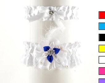 Set bridal garter white blue lace garter wedding, vintage, wedding lingerie, handmade garter, satin bride garter, satin flower garter 02P
