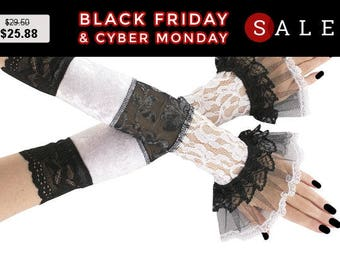 Long black and white  fingerless gloves, black lace arm warmers in gothic, burlesque, gothic lace bridal gloves, womens evening gloves 0245