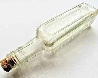 Vintage HAZLEWOOD Bottle. 1940s sauce bottle. Vintage square glass bottle. Corked vintage bottle. 1940s 1930s bottle. Vintage kitchen decor