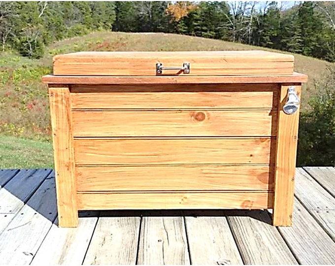 48 qt Cooler Wood Ice Box Ice Chest