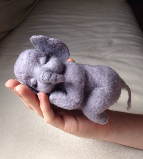 Needle felte animal - soft sculpture - felted animal - Needle felted elephant - felt elephant - Gift for her - Elephant ornament - unique gi