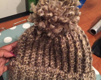Crochet Hat with Puff Ball