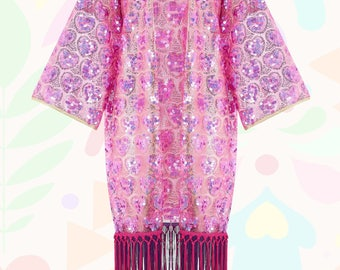 Sequin kimono with love hearts, silver stitching gold detail and duster tassels