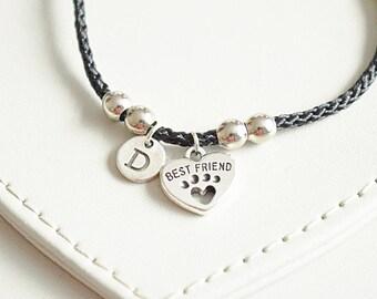 Friendship bracelets, Best friend bracelet, Best friend gift, Best friend charm bracelet, BFF bracelet, BFF Gift, Dog Paw, Paw print,Present