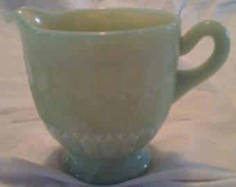Rare Vintage Green Slag Glass Creamer from Summit Art Glass